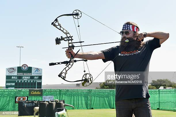 TV personality Willie Robertson participates in the ACM Cabela's Great Outdoor Archery Event during the 50th Academy of Country Music Awards at the...