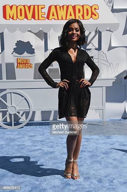 TV personality Zuri Hall attends The 2015 MTV Movie Awards at Nokia Theatre LA Live on April 12 2015 in Los Angeles California
