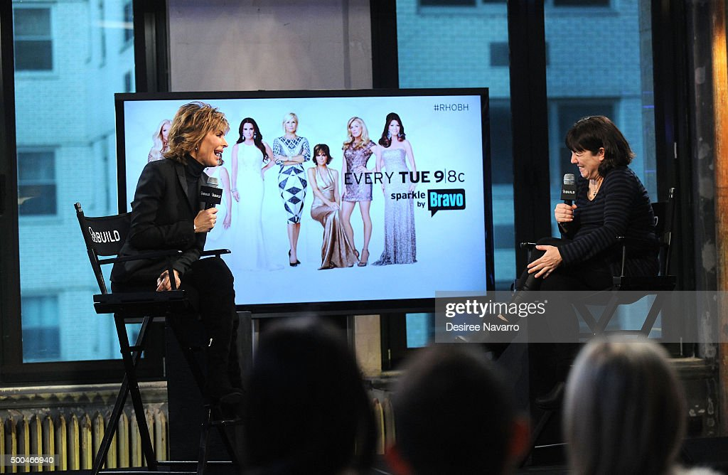 TV personality/actress Lisa Rinna (L) and moderator Donna Freydkin attend AOL Build Presents: Lisa Rinna of 'Real Housewives of Beverly Hills' at AOL Studios In New York on December 8, 2015 in New York City.