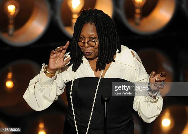 Personality/actress Whoopi Goldberg speaks onstage during the Oscars at the Dolby Theatre on March 2, 2014 in Hollywood, California.