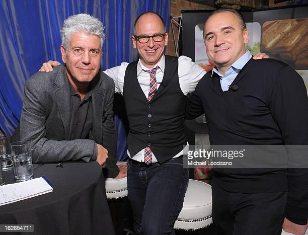 TV Personality/Chef Anthony Bourdain Saveur magazine editorinchief James Oseland and Spice Market Owner/Chef JeanGeorges Vongerichten attend the...