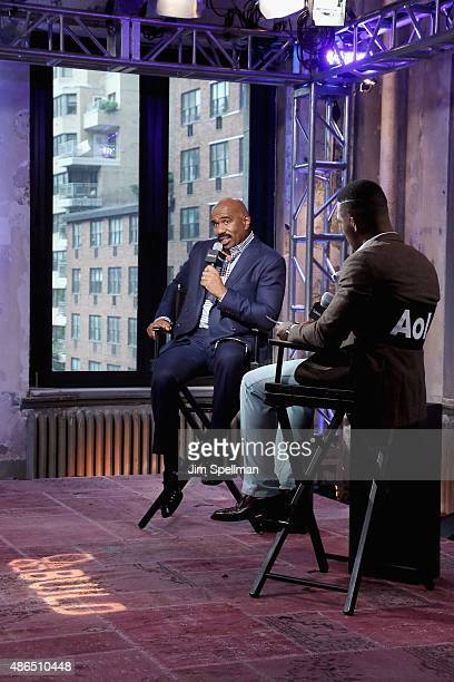 TV personality/comedian Steve Harvey and TV personality Kevin Thompson attend the AOL BUILD Speaker Series Steve Harvey at AOL Studios In New York on...