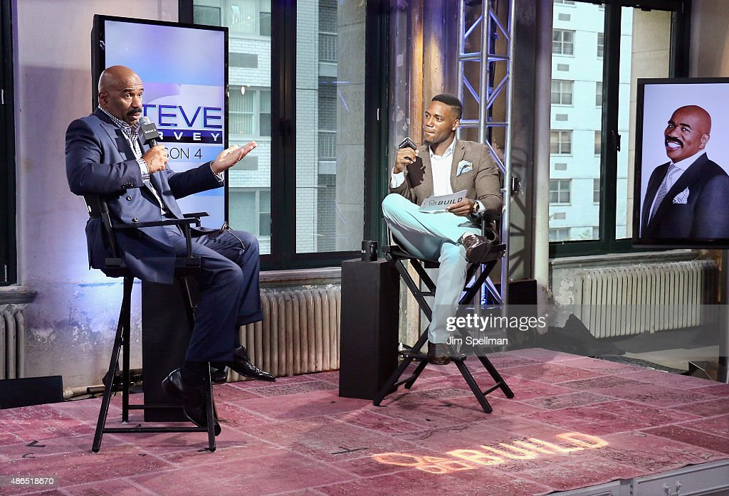 TV personality/comedian Steve Harvey and TV personality Kevin Thompson attend the AOL BUILD Speaker Series: Steve Harvey at AOL Studios In New York on September 4, 2015 in New York City.