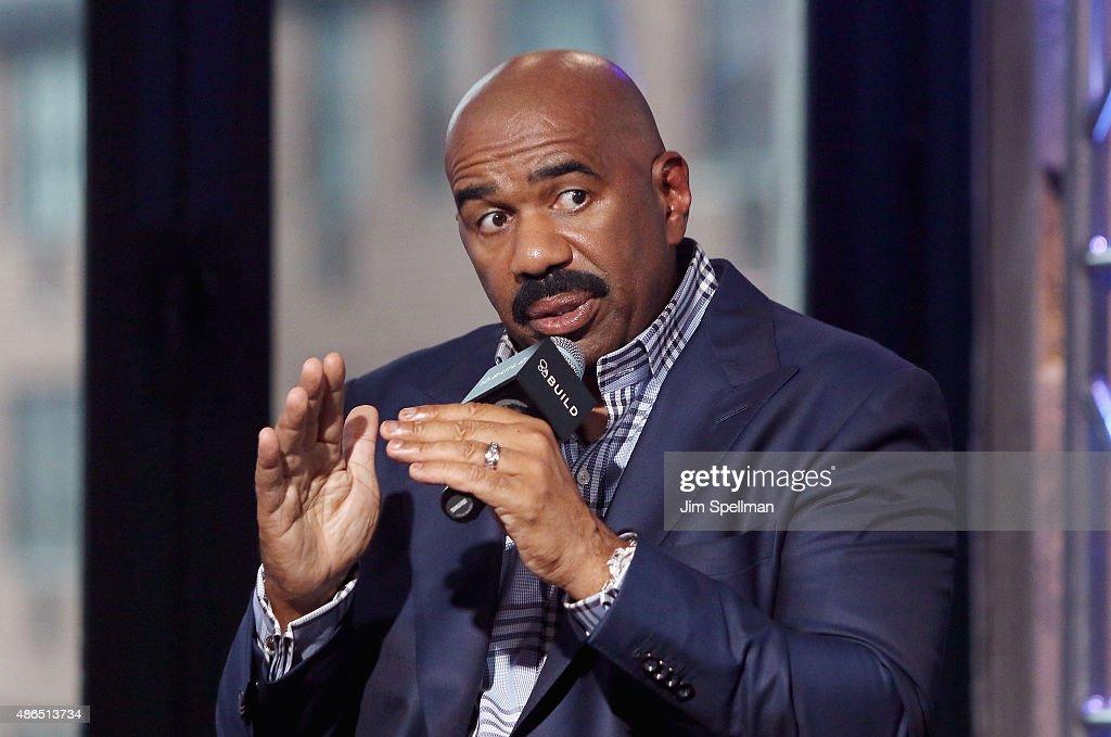 TV personality/comedian Steve Harvey attends the AOL BUILD Speaker Series: Steve Harvey at AOL Studios In New York on September 4, 2015 in New York City.