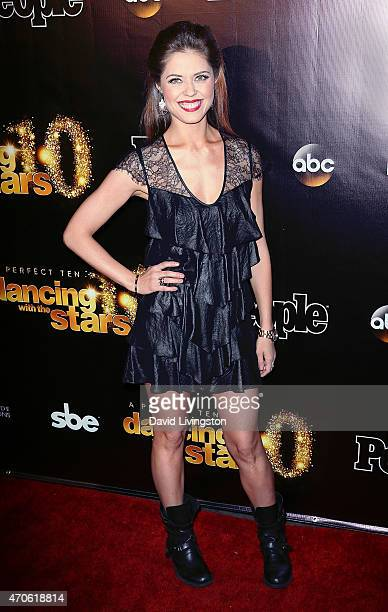 TV personality/dancer Anna Trebunskaya attends the 10th anniversary of ABC's 'Dancing with the Stars' at Greystone Manor on April 21 2015 in West...