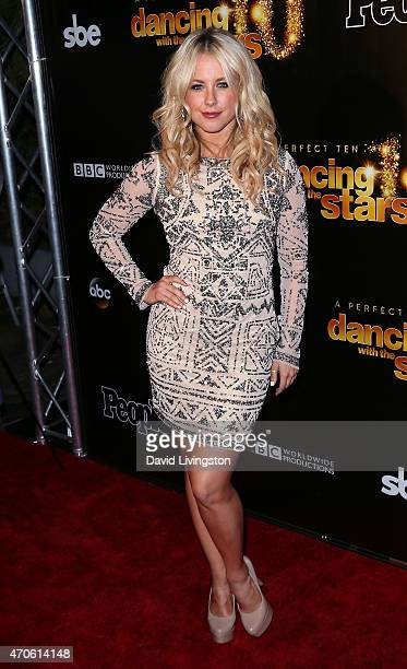 TV personality/dancer Chelsie Hightower attends the 10th anniversary of ABC's Dancing with the Stars at Greystone Manor on April 21 2015 in West...