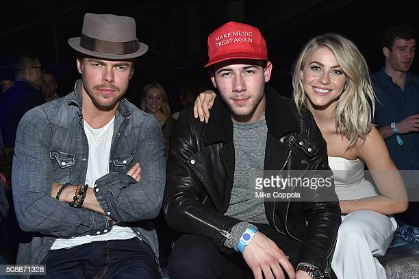 TV personality/dancer Derek Hough recording artist Nick Jonas and actress/dancer Julianne Hough attend the DirecTV Super Saturday Night cohosted by...