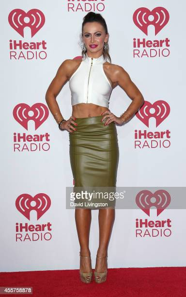 TV personality/dancer Karina Smirnoff poses in the press room at the iHeartRadio Music Festival Night 1 at the MGM Grand Resort and Casino on...