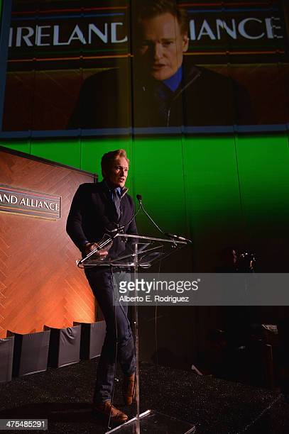 Personality/Honoree Conan O'Brien speaks at the 9th Annual 'Oscar Wilde Honoring The Irish In Film' PreAcademy Awards event at Bad Robot on February...