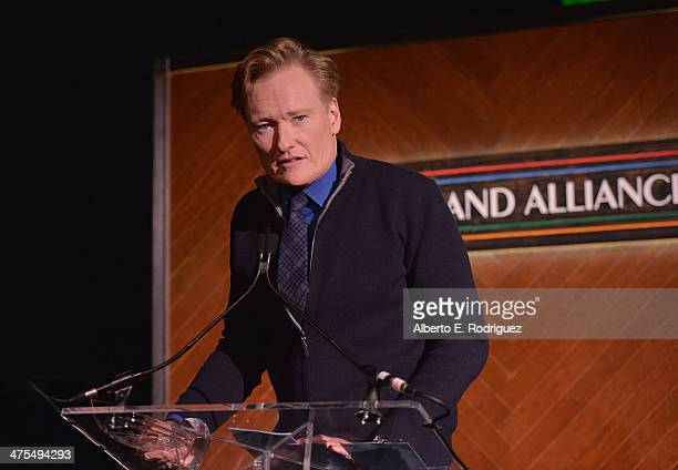 Personality/Honoree Conan O'Brien speaks at the 9th Annual Oscar Wilde Honoring The Irish In Film PreAcademy Awards event at Bad Robot on February 27...