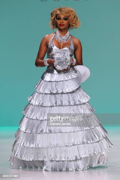 Personality/Model Cynthia Bailey walks the runway at Betsey Johnson during MercedesBenz Fashion Week Spring 2015 at The Salon at Lincoln Center on...