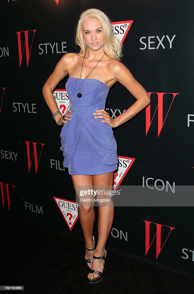 TV personality/model Laura James attends W Magazine and Guess celebrating 30 years of fashion and film and the next generation of style icons at Laurel Hardware on January 8, 2013 in West Hollywood, California.