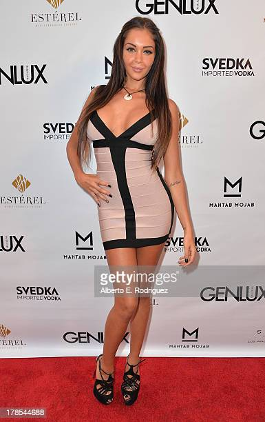TV personality/model Nabilla Benattia arrives to Genlux Magazine's Issue Release party featuring Erika Christensen at The Sofitel Hotel on August 29...