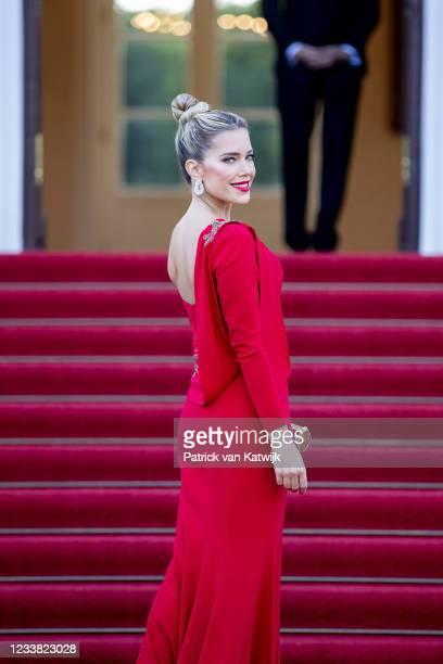 Personality/model Sylvie Meis visits Schloss Bellevue where German President Frank-Walter Steinmeier and his wife Elke Büdenbender offer the King...