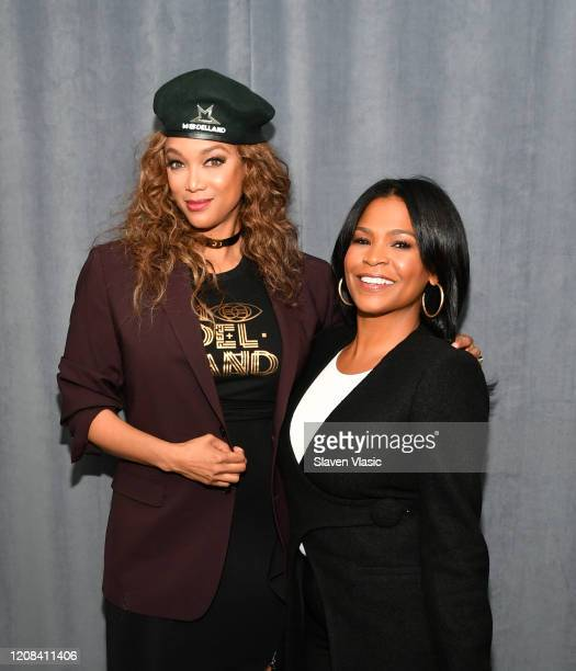 TV personality/model Tyra Banks and actress Nia Long visit SiriusXM Studios on February 24 2020 in New York City