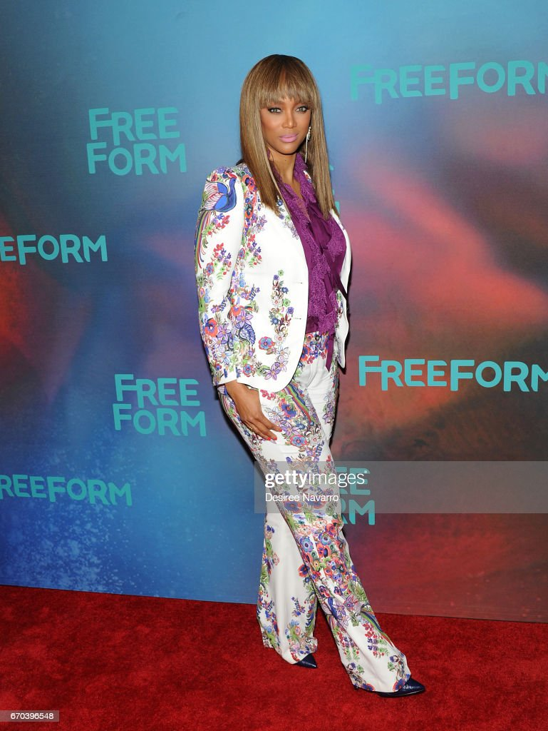 TV personality/model Tyra Banks attends Freeform 2017 Upfront at Hudson Mercantile on April 19, 2017 in New York City.