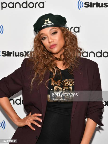 Personality/model Tyra Banks visits SiriusXM Studios on February 24, 2020 in New York City.