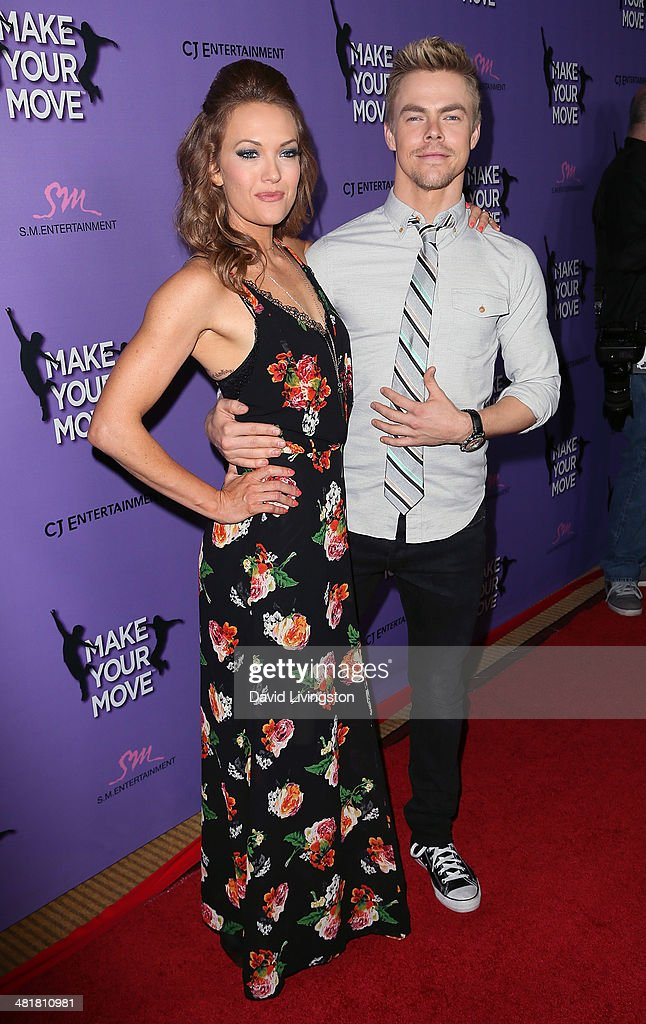 TV personality/Para-athlete Amy Purdy (L) and actor Derek Hough attend a screening of 'Make Your Move' at Pacific Theatre at The Grove on March 31, 2014 in Los Angeles, California.