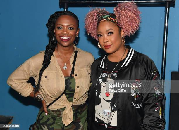 TV personality/singer Kandi Burruss and rapper DaBrat backstage during the Sum of My Music tour at The Masquerade on May 29 2018 in Atlanta Georgia