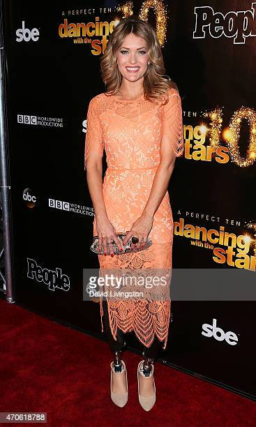 TV personality/snowboarder Amy Purdy attends the 10th anniversary of ABC's 'Dancing with the Stars' at Greystone Manor on April 21 2015 in West...