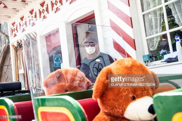 Personell of Tivoli amusement park demonstrates with teddies the social distance strategy, during a press conference in Copenhagen on June 4, 2020...
