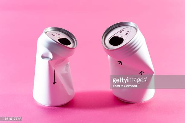personification of cans - arguing photos stock pictures, royalty-free photos & images