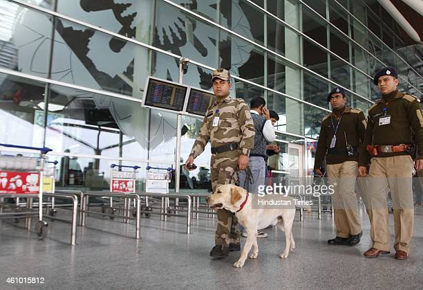 Personnel alert at 1D Domestic Airport on January 4 2015 in New Delhi India Security was tightened at Delhi and other airports across the country on...