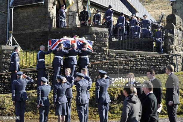 RAF personnel carry the flagdraped coffin of air cadet KatieJo Davies at her funeral at St Barnabas Church High Street Gilfach Goch in South Wales