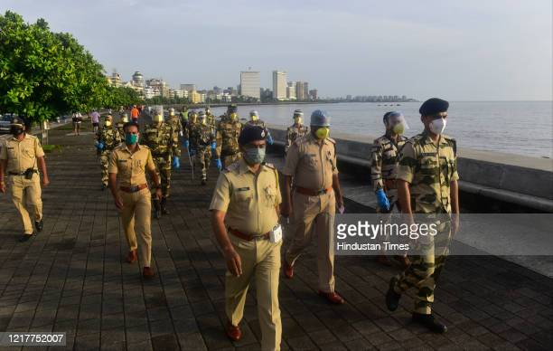 Personnel deployed at Marine Drives as Maharashtra state being Unlock 1.0 from today, during COVID 19 pandemic, on June 4, 2020 in Mumbai, India.