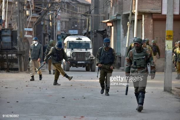 CRPF personnel during a clash in Srinagar Indian administered Kashmir Indian forces fired teargas to disperse protesters on Friday during a strike...