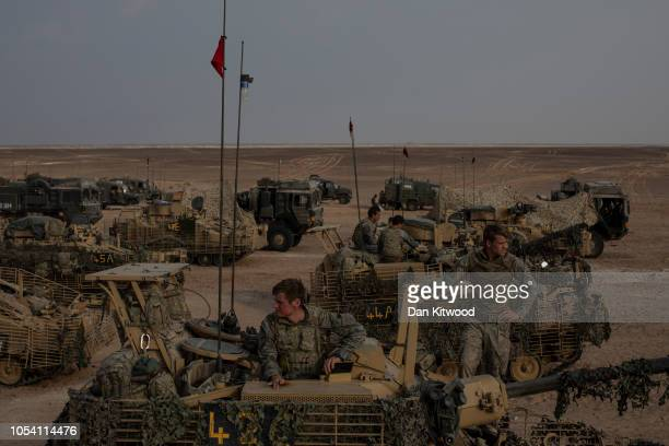 Personnel from D Squadron Household Cavalry prepare to move off from their camp on Scimitar CVRT's during exercise 'Saif Sareea 3' on October 26 2018...