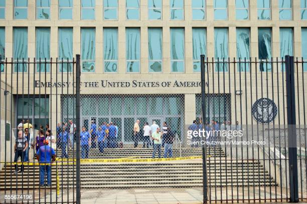 Personnel gather at the U.S. Embassy in Cuba on September 29, 2017 in Havana, Cuba. The U.S. State Department announced it will cut the embassy's...