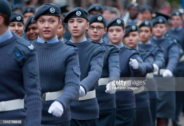 RAF personnel marching at the Lord Mayors show in London UK 2010