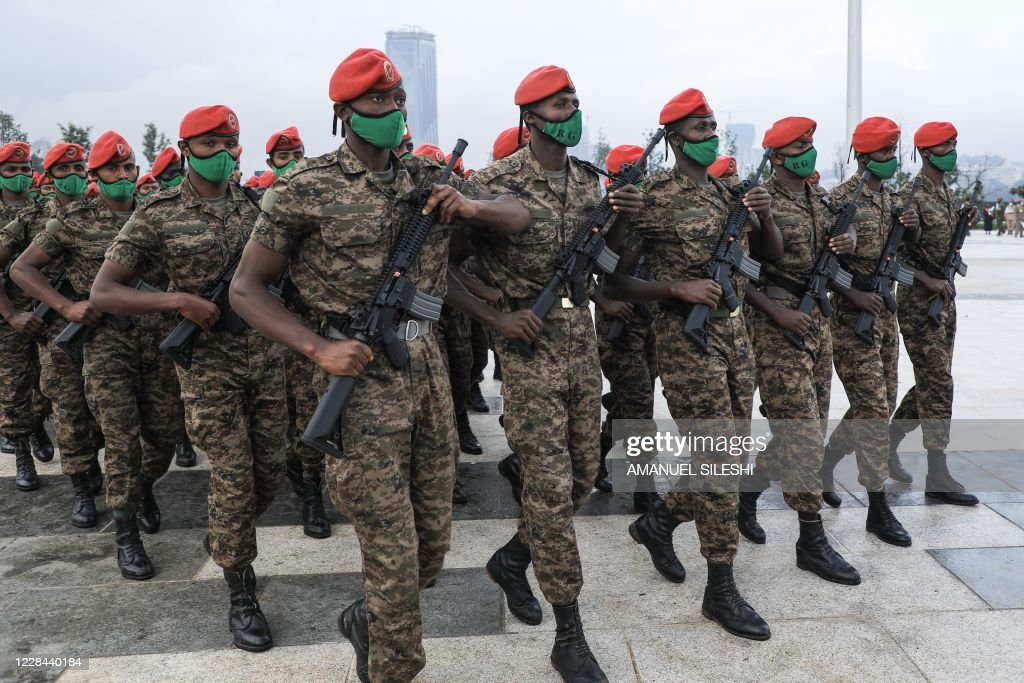 Personnel of Ethiopia's Republican Guard walk before the inauguration... News Photo - Getty Images