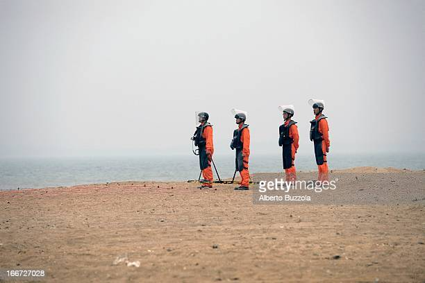 Personnel of the ROC army demining squad getting ready for a mine sweeping operation on Kinmen island. It is estimated that almost 70,000 land-mines...