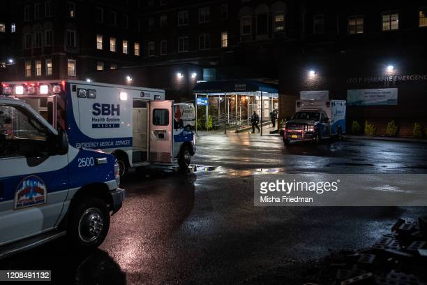 Personnel outside Emergency Department, St. Barnabas Hospital in the Bronx on March 28, 2020 in New York City. The World Health Organization declared...