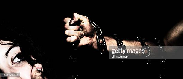 Person's Arm Wrapped in Chains and Scared Woman