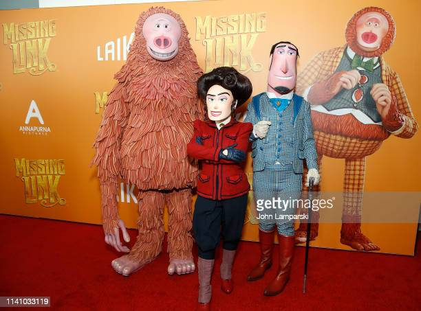 """Persons deressed as cartoon characters form the movie attend """"Missing Link"""" New York Premiere at Regal Cinema Battery Park on April 07, 2019 in New..."""