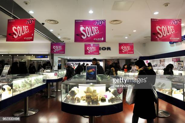 Persons going shopping during the sales on January 12 2011 in Paris France