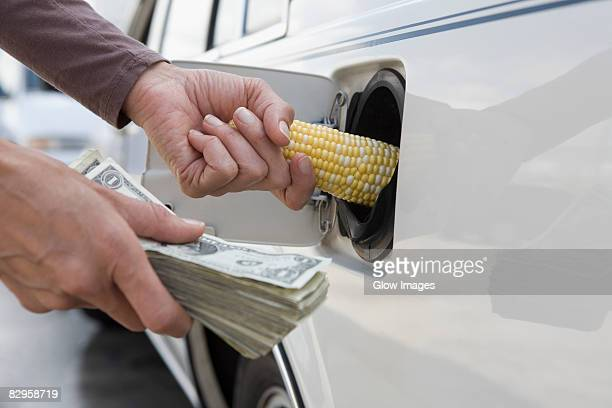 Person's hand putting a corn cob into the gas tank of a car