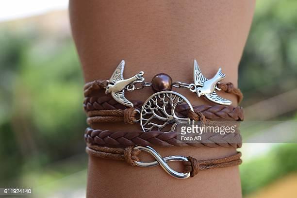Person's hand wearing Birds Bracelet
