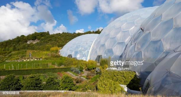 Perspective along biomes in landscape Eden Project Bodelva United Kingdom Architect Grimshaw 2016