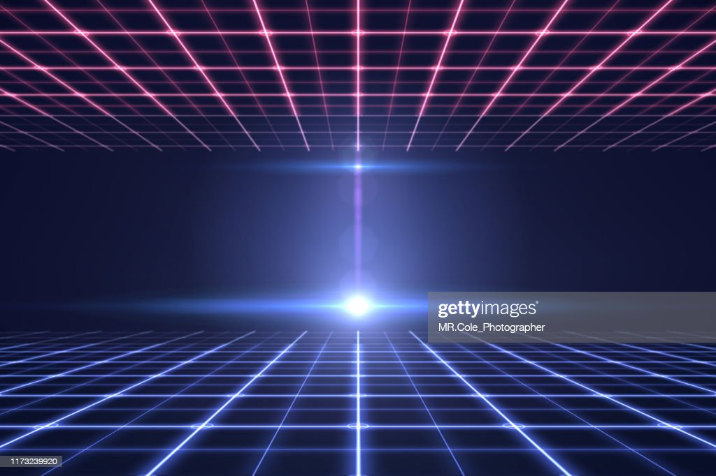 perspective Grid technology background,Wire frame ground and ceiling,Digital technology Background : ストックフォト