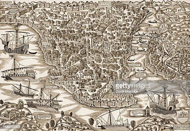 Perspective illustration of the city of Constantinople Turkey early 16th century