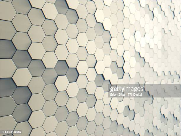 perspective of a hexagon background pattern 3d generated - design element stock pictures, royalty-free photos & images