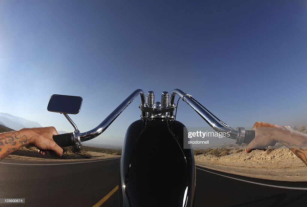 Perspective of Motorcycle Rider from the Seat : Stock Photo