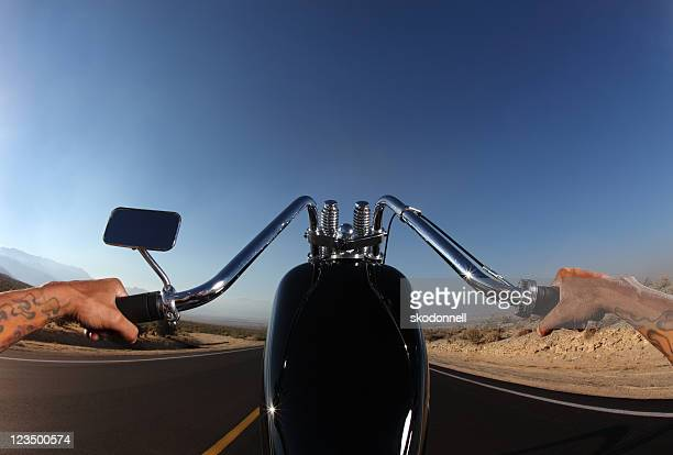 perspective of motorcycle rider from the seat - handlebar stock photos and pictures