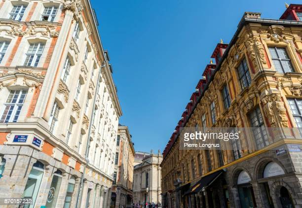 Perspective of the rue Des Sept Agaches in the center of Lille, North of France