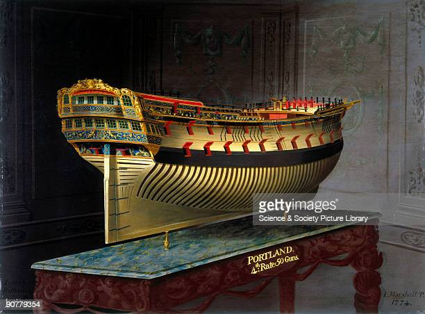Perspective painting of a whole hull model by Joseph Marshall commissioned by King George III In 1773 George III directed that plans for one of each...