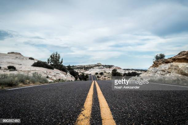 perspective - double yellow line stock photos and pictures